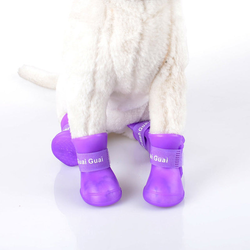 2017 New arrival Portable Dog Shoes Pet Dog Waterproof Shoes Anti slip design Teddy Rain Boots Shoes  Pet Outdoor Shoes S-XXL