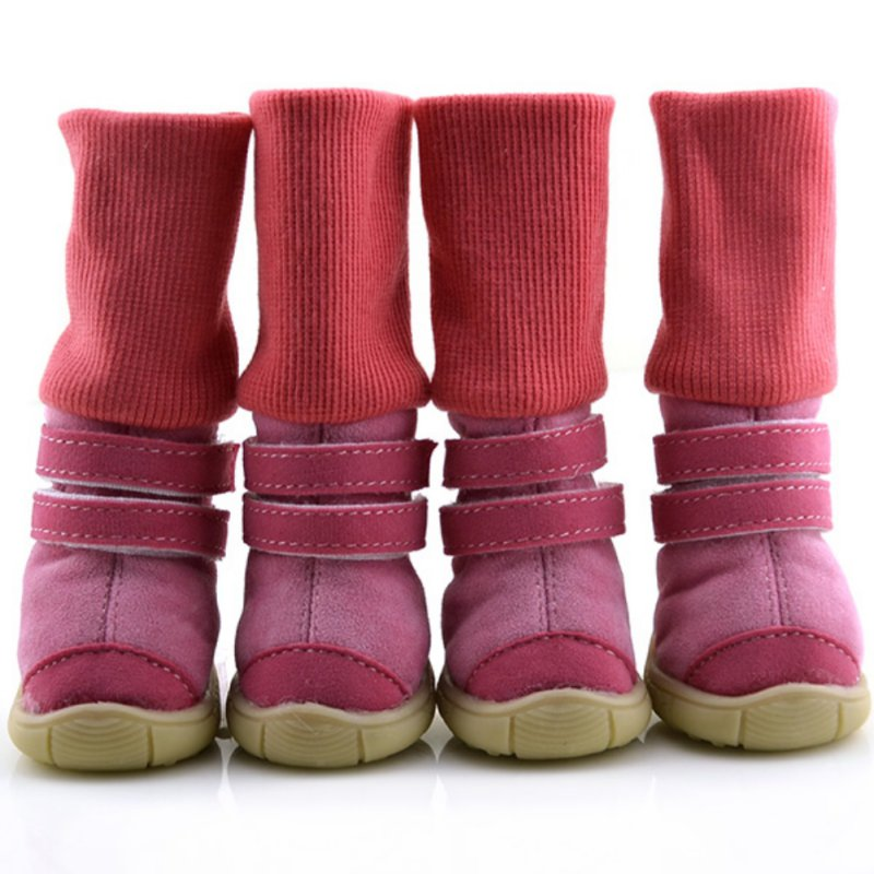 2017 Pets Winter Dog Shoes Puppy Warm Anti-slip Soft Leather Cashmere Waterproof Solid Booties Boots Belt Dog Shoes XS-XL