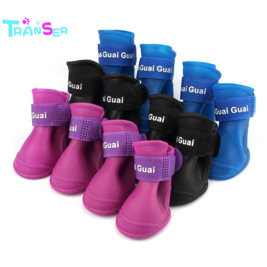 2017 Transer New Dog Candy Colors Boots Waterproof Rubber Pet Rain Shoes Booties dogs footwear Drop Shipping ot19 m30