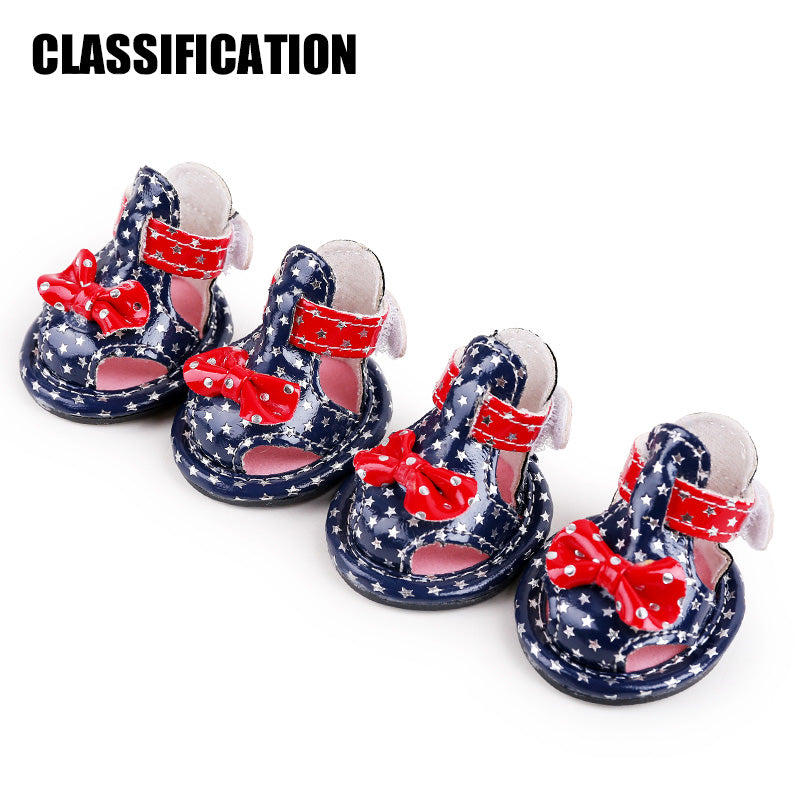 2017 petcircle new arrivals pet dog shoes summer PU star dog shoes for chihuahua yorkshire 2 colors pet products