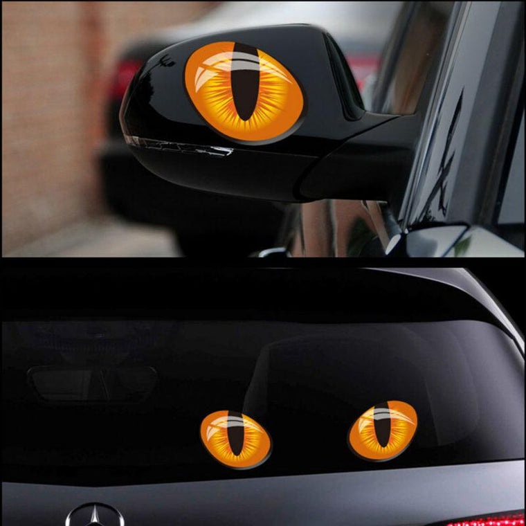 2pcs 12*10cm Cute Simulation Cat Eyes Car Stickers 3D Vinyl Decal for Rearview Mirror Car Head Engine Cover Windows Decoration