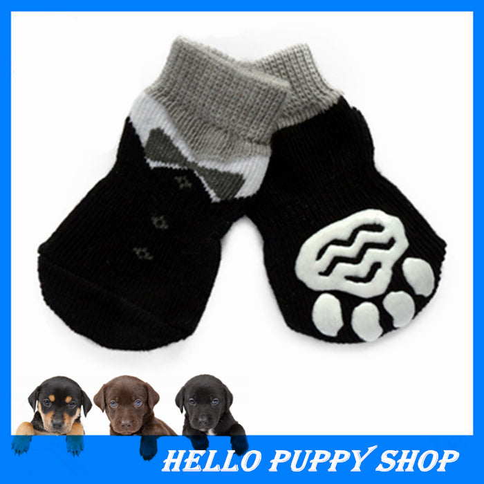 329 2015 Hot Sale Dog Socks 100% Cotton Pet shoes with Bottom Non-slippery Warm Sock 4 Pcs