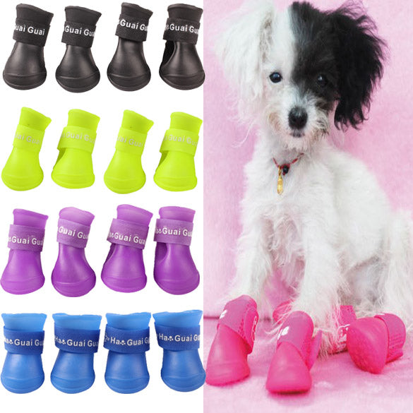 4 PCS Cute Pet Dog Waterproof Boots Protective Rubber Rain Shoes Candy Color Sale LXY9 DE1717