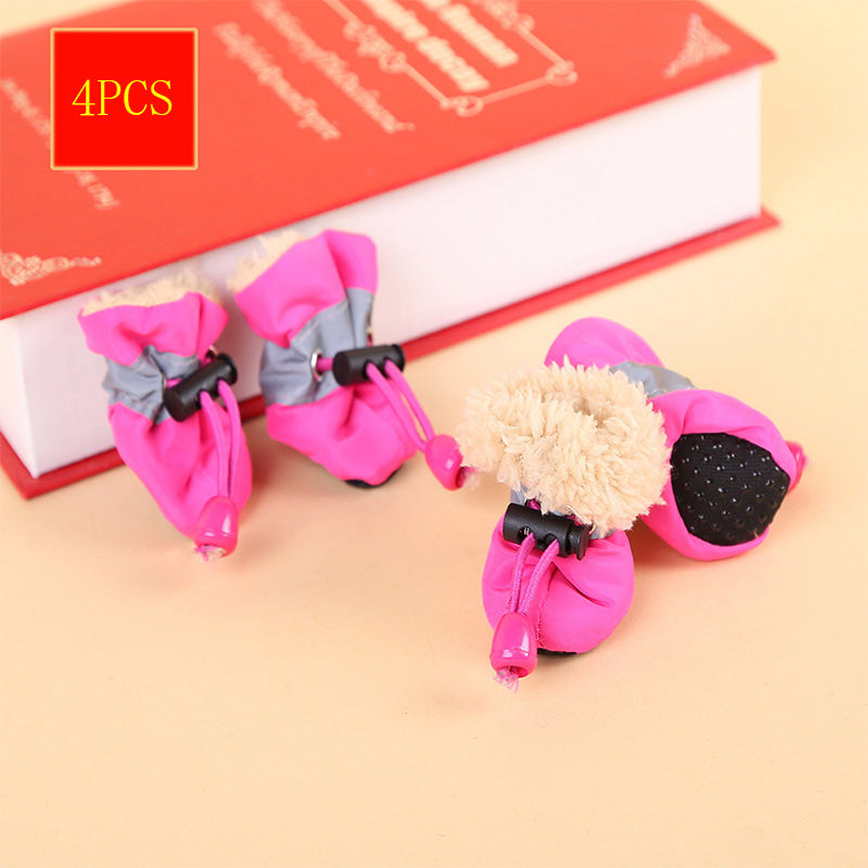 4 Pcs Portable Pet Dog Rainshoes Non-slip Waterproof Rain Boots Autumn Winter Dogs Paws Soft Shoes Cover