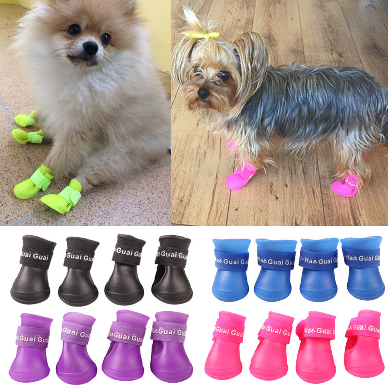4 Pcs/ Set Pet Rain Waterproof Shoes For Dog Boots Silicone Rain Boot Anti Slip Dog Shoes For Smll Puppies Pet Products Rubber