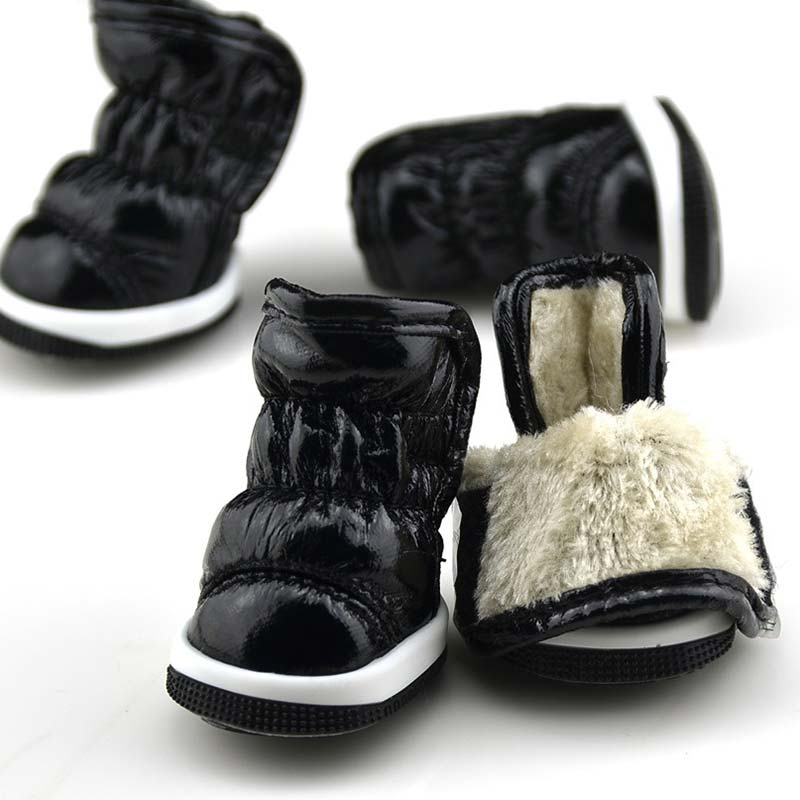 4 Pcs/Set Winter Anti Slip Waterproof Cat Pet Dog Shoes Soft PU Snow Pets Dogs Boots J2Y