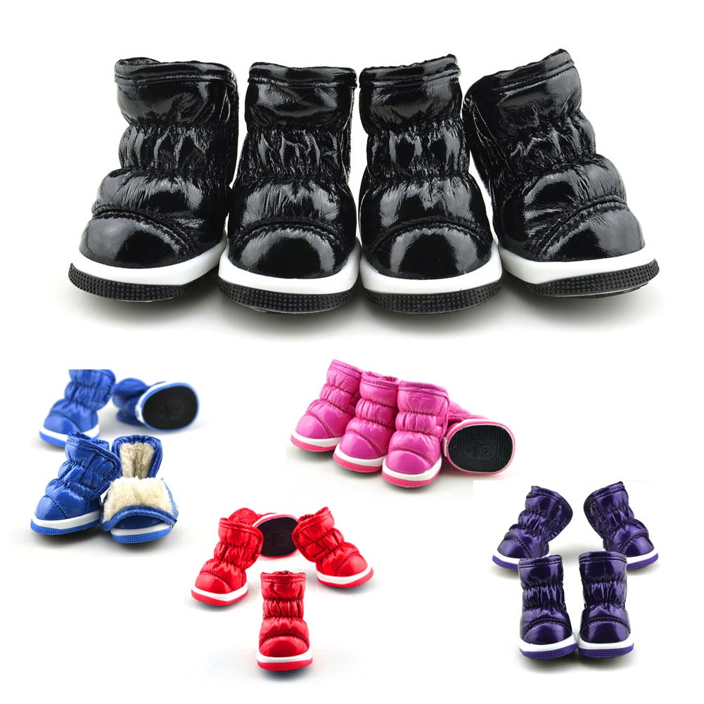 4 Pcs/Set Winter Soft PU Cat Pet Dog Shoes Anti Slip Waterproof Snow Pets Dogs Boots HG99