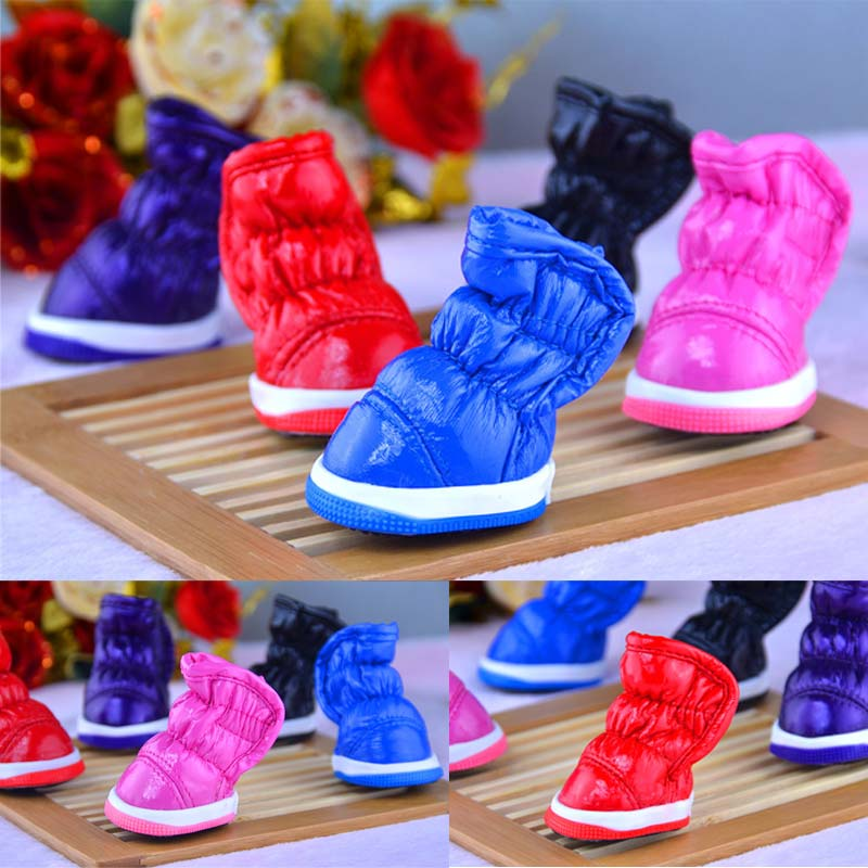 4 Pcs/Set Winter Waterproof Cat Pet Dog Shoes Anti Slip Soft PU Snow Pets Dogs Boots FP8