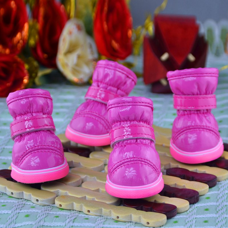 4 Pcs/Sets Lovely Pet Autumn and Winter Snow Dog Boots Casual Dog Shoes Pet Slip-resistant Waterproof Shoes Teddy Dog Shoes