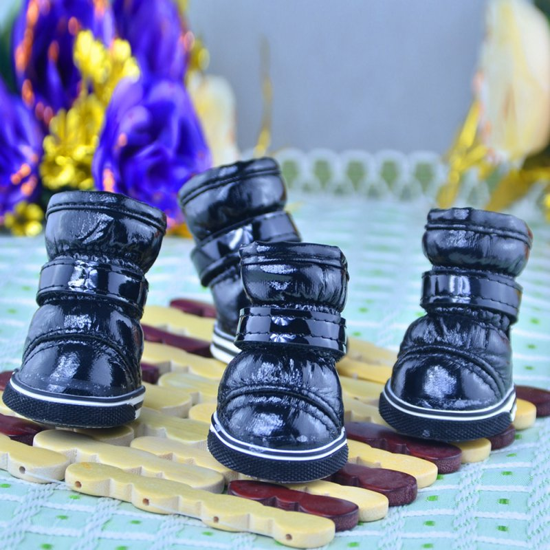 4 Pcs/Sets Puppy Winter Snow Boots Casual Dog Shoes Pet Slip-resistant Waterproof Shoes Teddy Dog Shoes