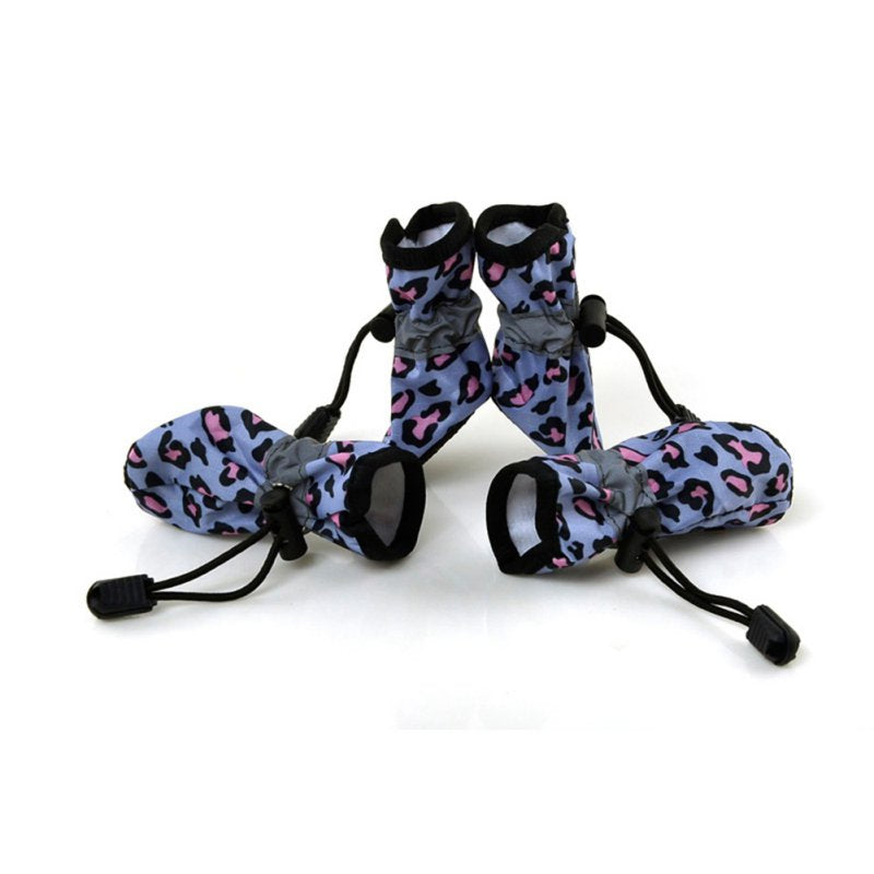 4 Pcs/Sets Waterproof Dog Shoes Reflective Anti Slip Rain Boots Adjustable Winter Warm Socks Sneaker Paw Protec 7 Size Dog Shoes