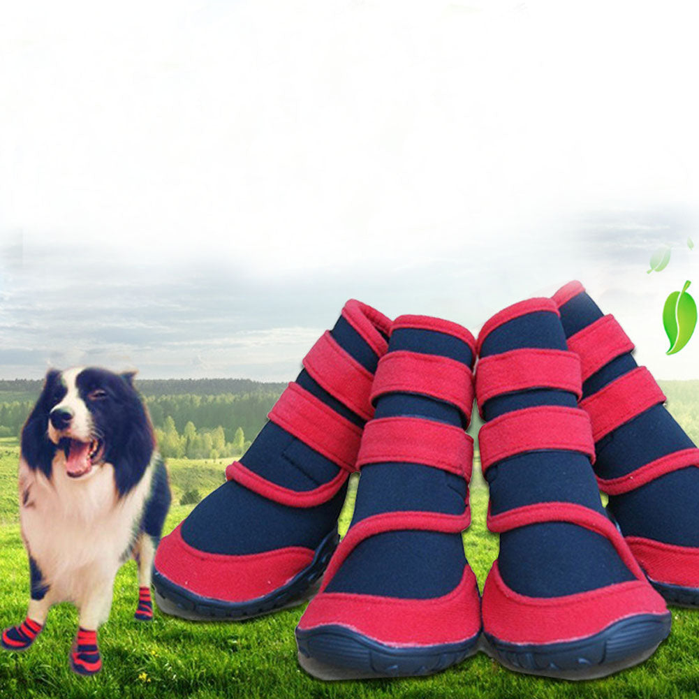 4 Pcs Waterpoof Non Slip Puppy Winter Outdoor Running Boot Large Dog Shoes Neoprene Pet Rain Boots Pets Supplies 2XS-2XL J2Y