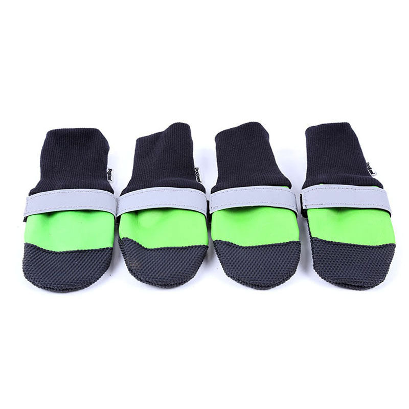 4 Pcs/set Oxford Waterproof Large Dog Shoes Anti-Slip Reflective Pets Dog Rain Boots FP8