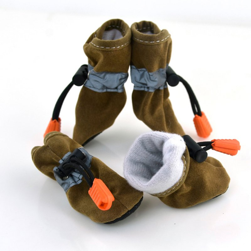 4 Pcs/set Pet Dog Waterproof Shoes Winter Warm Soft Thick Breathable Dogs Boot Shoes For Chihuahua Puppies XS-3XL 7 Color