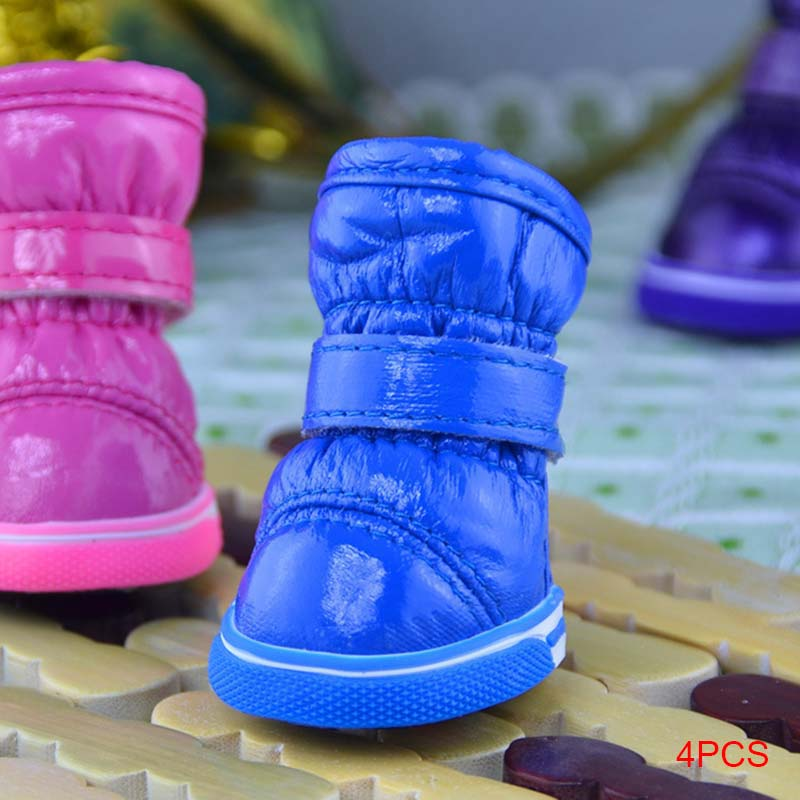 4 Pcs/set Waterproof Snow Boots Pet Shoes Winter Warm Small Dogs Puppy Cat Outdoor Non Slip Foot Wear FP8
