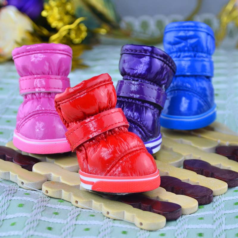 4 Pcs/set Waterproof Snow Boots Pet Shoes Winter Warm Small Dogs Puppy Cat Outdoor Non Slip Foot Wear TB Sale