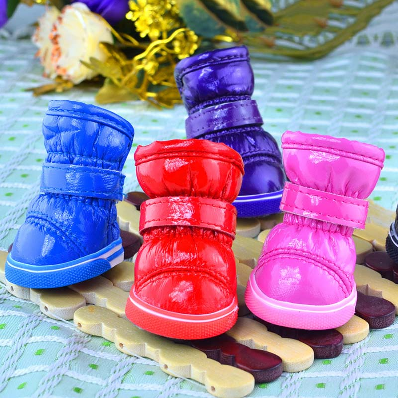 4 Pcs/set Winter Warm Small Dogs Puppy Cat Outdoor Non Slip Foot Wear Waterproof Snow Boots Pet Shoes HG99