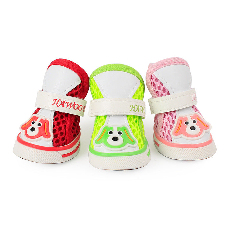 4 Pieces Pack Pets Cartoon Dog Breathable Mesh Shoes Dogs Outdoor Activities Non-slip Decorative Shoes