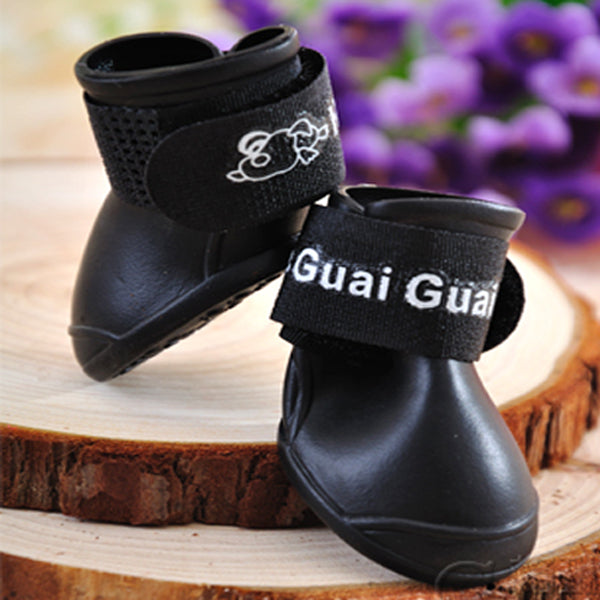 4 Pieces/ Set Fashion Pet Puppy Candy Colors Waterproof Boots Protective Rubber Rain Shoes Booties for Pets