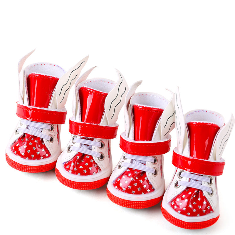 4 Pieces/lot Petcircle Pet Plush Shoes Autumn Winter PU Waterproof Dog Shoes Size XXS XS S M L
