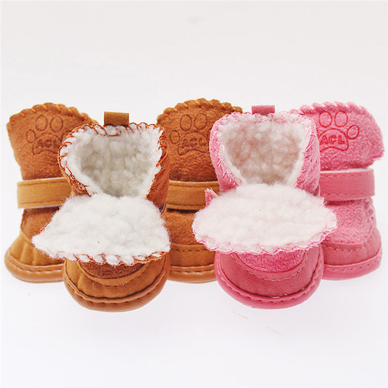 4 pcs/set Cute Chihuahua Dog Shoes Small Dogs Pet Shoes Puppy Winter Warm Boots Shoes S-XXL