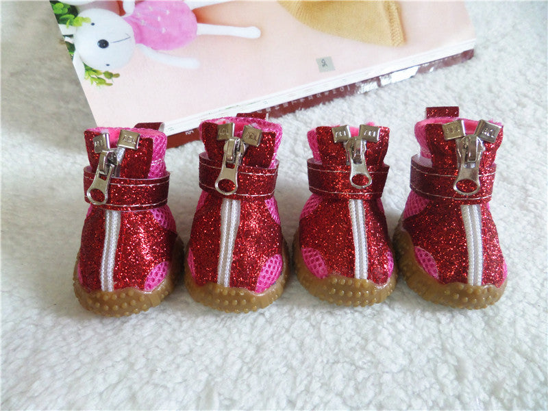 4 pcs/set fashion breathable dog pet shoes pattern mesh dog shoes for small dog cat teddy chihuahua dog shoes Shining cat shoes
