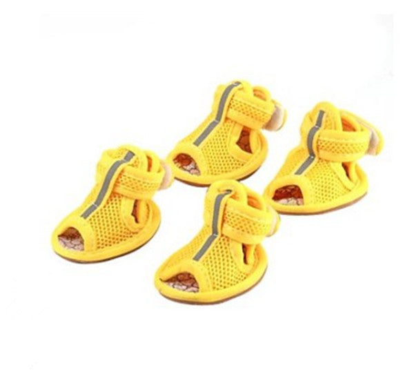 4 pcs/set fashion cat dog shoes puppy kitten shoes small pets dog shoes mesh breathable for summer
