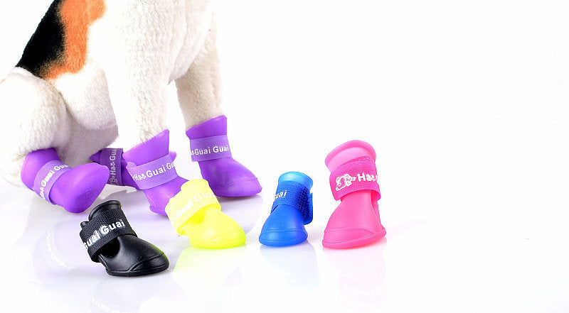 4 pcs/set pet shoes anti-slip rainshoes for dogs or cats  Brand New Fashion Cute Rain Boots Rain Boots Slip Pet Dog PU Shoes A2