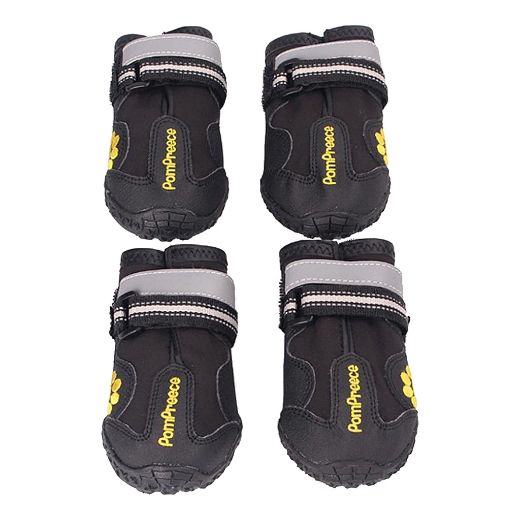 4 x Waterproof Pet Shoes Anti Skid Dog Boots For Medium/Large Labrador Husky Shoes, Black 6