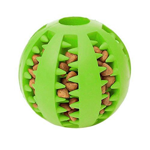 YRH Rubber Dog Balls,Dog Treat Ball Dispenser with Bite Resistant Soft Rubber Dog Balls Improving Intelligence Strong Tooth, Pet Toy Ball for Chewing,IQ Training,Playing(green)