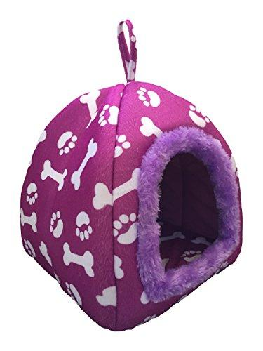 WowowMeow Pet Portable Bones Print Cozy Fleece House Bed for Dog, Cat, Rabbit and Small Animals (M, Purple)