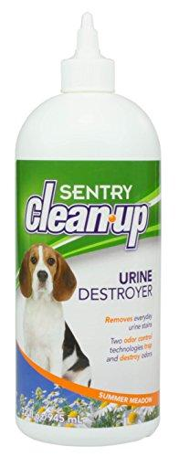 Sentry Clean Up Urine Destroyer Stain and Odor Remover, 32 Ounce Dispenser Bottle. Erases Dog Urine Stains and Odors on Carpets, Upholstery, Bedding, and All Water Safe Surfaces. Summer Meadow Scent.