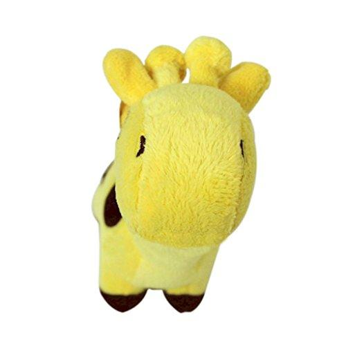 ZX101 Well Love Dog Toys - Chew Toys - 100% Natural Plush Giraffe Shape Toys - Teeth Training Toy size 17cm x 5cm (Yellow)