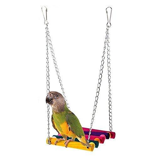 WMSTUDIO Pet Bird Cage Hammock, Rainbow Bridge Flexible Colorful Wood Swing Toy Hanging Toys for Parrot Parakeet Budgie Cockatiel