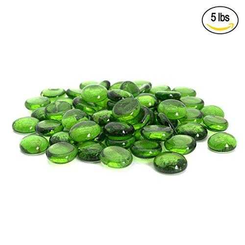 Green Flat Marbles, Pebbles, Glass Gems for Vase Fillers, Party Table Scatter, Wedding, Decoration, Aquarium Decor, Crystal Rocks, or Crafts by Royal Imports, 5 LBS (approx 400 pcs)