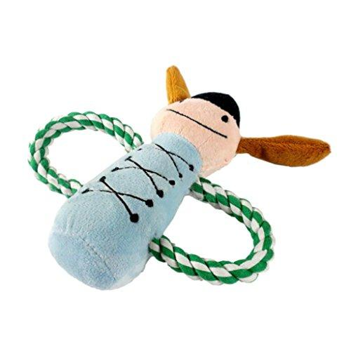 ZX101 Durable Dog Puppy Pet Chewing Ropes Squeaky Plush Cute Cartoon Doll Sound Squeaker Toys (Blue)