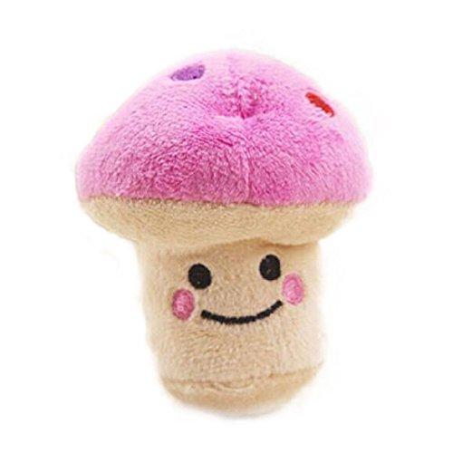 YChoice Pink Pet Small Mushroom Shape Chew Toy Puppy Plush Squeaky Toy