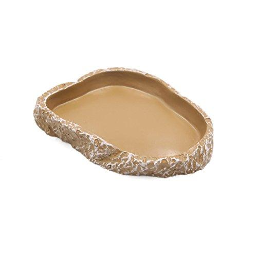 uxcell 4.3 x 3 x 0.6 inches Brown Resin Terrarium Bowl Feeding Plate Water Food Dish Feeder for Small Size Reptiles