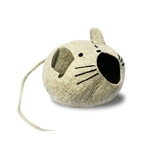 Natural Large Felted Wool Mouse Cat Bed Cave with Long ChewableTail for Fun Kitty Play Includes Large Floppy Mouse Ears, Whiskers & Eyes. Machine-washable. No chemicals, all natural product.