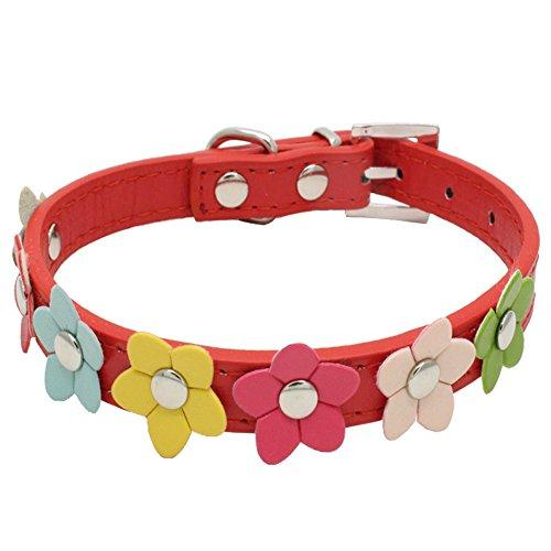 ZORTEA Leather Little Flower Collar Neck Strap Pet Dog Cat Necklace Accessories
