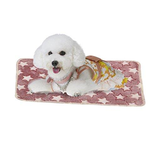 ✔Kawaii Puppy Blanket Pet Cushion Smdoxi Soft Blanket Doggy Warm Bed Mat Stars Paw Print Cushion✔Lazy Dog (Pink, S)