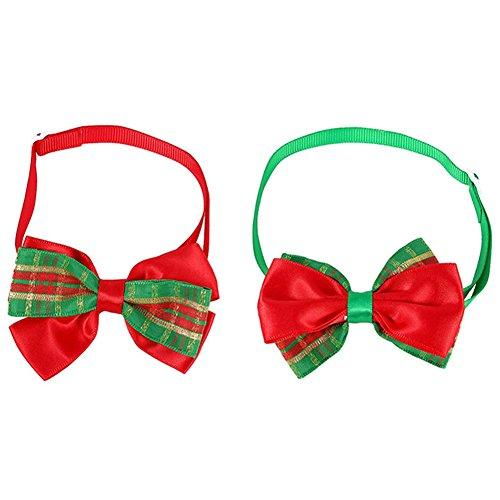 Zeroyoyo 2pcs Christmas Costume Fancy Dress Plaid Pet Dog Cat Bow Tie Collar Adjustable Bowties Neckties Pet Grooming Accessories Decor
