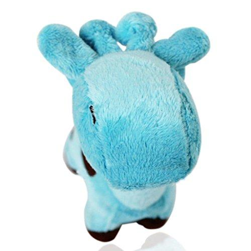 ZX101 Well Love Dog Toys - Chew Toys - 100% Natural Plush Giraffe Shape Toys - Teeth Training Toy size 17cm x 5cm (Blue)