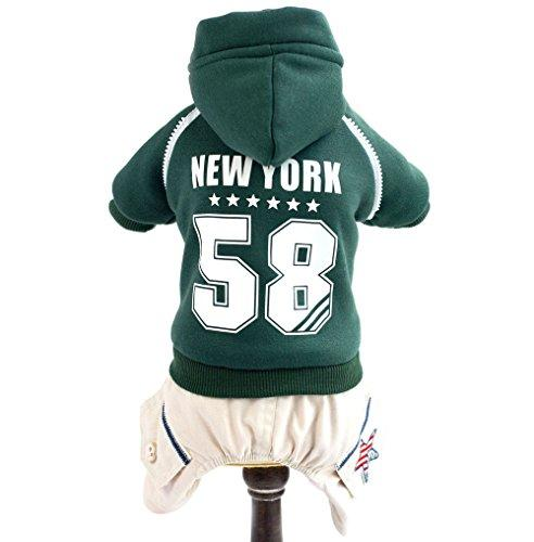 ZUNEA Sports Small Dog Cat Fleece Tracksuit with Hood Thick,Puppy Winter Outfits Jumpsuit Hoodie Coat Pet Snowsuit with Pants Warm Jacket Apparel Clothes Green S