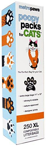Metro Paws Poopy Packs for Cats Pet Waste Bags - 250 Bags - Extra Large, Earth-Friendly, Leak-Proof Pet Waste Bags (1 Single Roll, 250 Extra Large Bags Per Roll) (Orange)