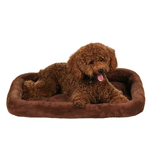 QIAOQI Dog Bed, Fashion Pets Bed Bolster Breathable Dogs Cats Cushion Beds Mats Small Brown