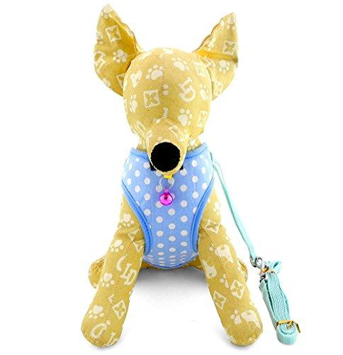 ZUNEA Small Dog Vest Harness and Leash Set Adjustable Mesh Padded Polka Dot Pet Puppy Cat Walking Strap Summer Doggie Apparel 12