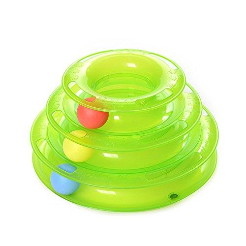 YUSENPET Tower of Tracks Ball Bat and Chase Toy for Cats, Best Kitty Cat Pussy Ball Chaser Scratcher Round Play Senses Playset (Green)