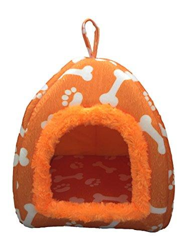 WowowMeow Pet Portable Bones Print Cozy Fleece House Bed for Dog, Cat, Rabbit and Small Animals (S, Orange)