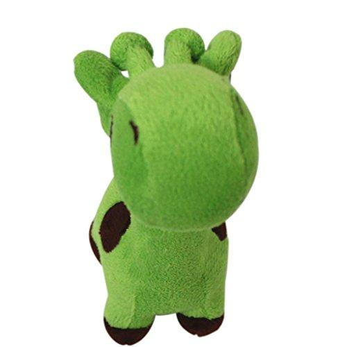 ZX101 Well Love Dog Toys - Chew Toys - 100% Natural Plush Giraffe Shape Toys - Teeth Training Toy size 17cm x 5cm (Green)